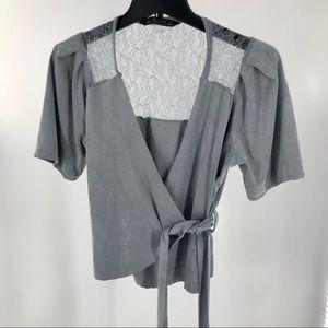 Zara Wrap Top w/ Lace  Sz L